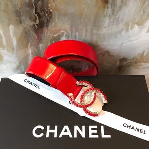 Chanel Bright Red Patent Crystal Stone CC Belt 75